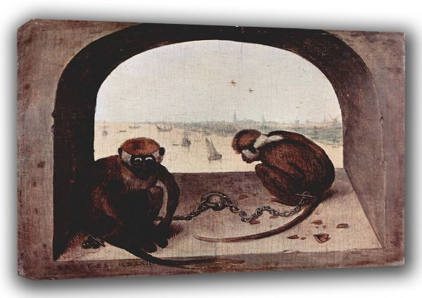Bruegel the Elder, Pieter: Two Chained Monkeys. Fine Art Canvas. Sizes: A3/A2/A1 (00455)
